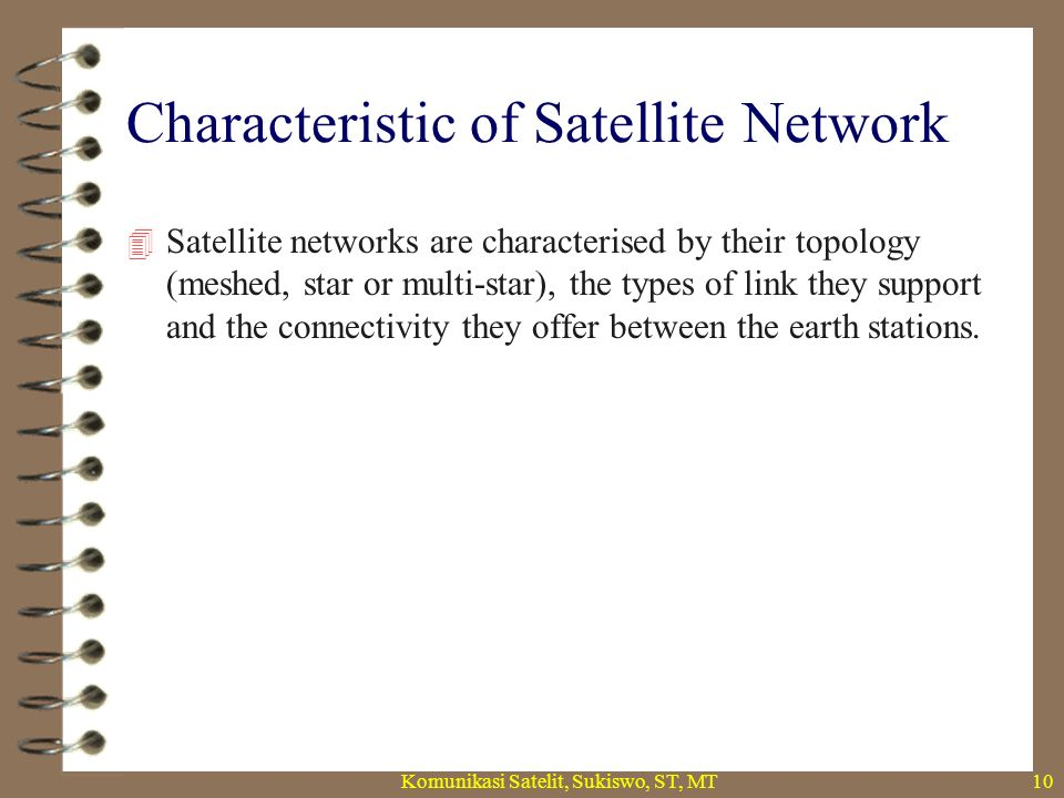Meshed Satellite Topology  A meshed satellite network consists of a set of earth stations which can communicate one with another by means of satellite links consisting of radio-frequency carriers.