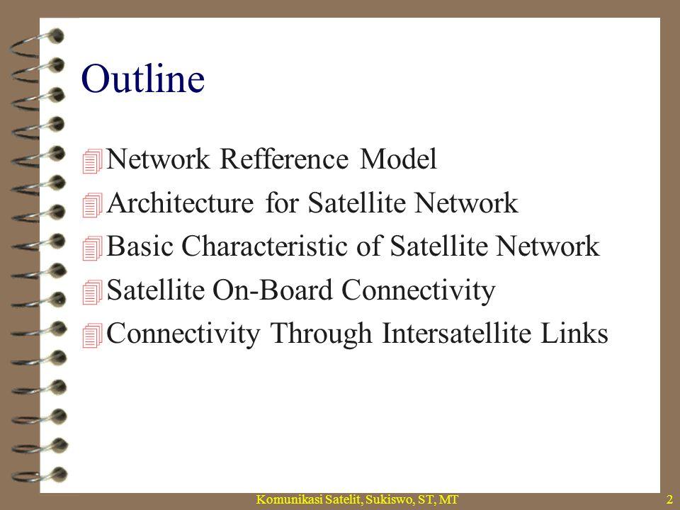 Komunikasi Satelit, Sukiswo, ST, MT2 Outline  Network Refference Model  Architecture for Satellite Network  Basic Characteristic of Satellite Network  Satellite On-Board Connectivity  Connectivity Through Intersatellite Links
