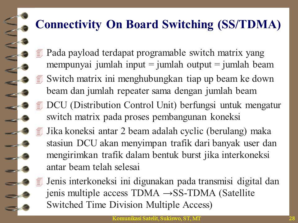 Connectivity On Board Switching (SS/TDMA) Komunikasi Satelit, Sukiswo, ST, MT28  Pada payload terdapat programable switch matrix yang mempunyai jumlah input = jumlah output = jumlah beam  Switch matrix ini menghubungkan tiap up beam ke down beam dan jumlah repeater sama dengan jumlah beam  DCU (Distribution Control Unit) berfungsi untuk mengatur switch matrix pada proses pembangunan koneksi  Jika koneksi antar 2 beam adalah cyclic (berulang) maka stasiun DCU akan menyimpan trafik dari banyak user dan mengirimkan trafik dalam bentuk burst jika interkoneksi antar beam telah selesai  Jenis interkoneksi ini digunakan pada transmisi digital dan jenis multiple access TDMA →SS-TDMA (Satellite Switched Time Division Multiple Access)