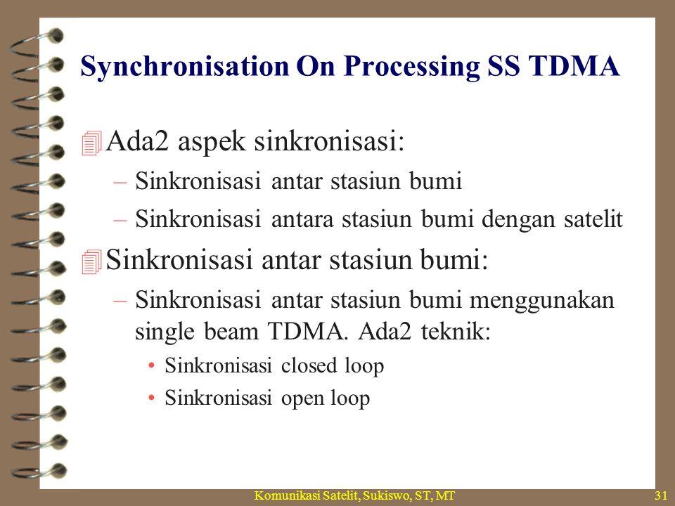 Synchronisation On Processing SS TDMA  Ada2 aspek sinkronisasi: –Sinkronisasi antar stasiun bumi –Sinkronisasi antara stasiun bumi dengan satelit  Sinkronisasi antar stasiun bumi: –Sinkronisasi antar stasiun bumi menggunakan single beam TDMA.