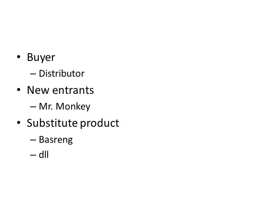 Buyer – Distributor New entrants – Mr. Monkey Substitute product – Basreng – dll