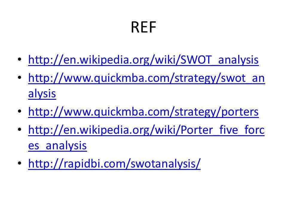 REF http://en.wikipedia.org/wiki/SWOT_analysis http://www.quickmba.com/strategy/swot_an alysis http://www.quickmba.com/strategy/swot_an alysis http://www.quickmba.com/strategy/porters http://en.wikipedia.org/wiki/Porter_five_forc es_analysis http://en.wikipedia.org/wiki/Porter_five_forc es_analysis http://rapidbi.com/swotanalysis/
