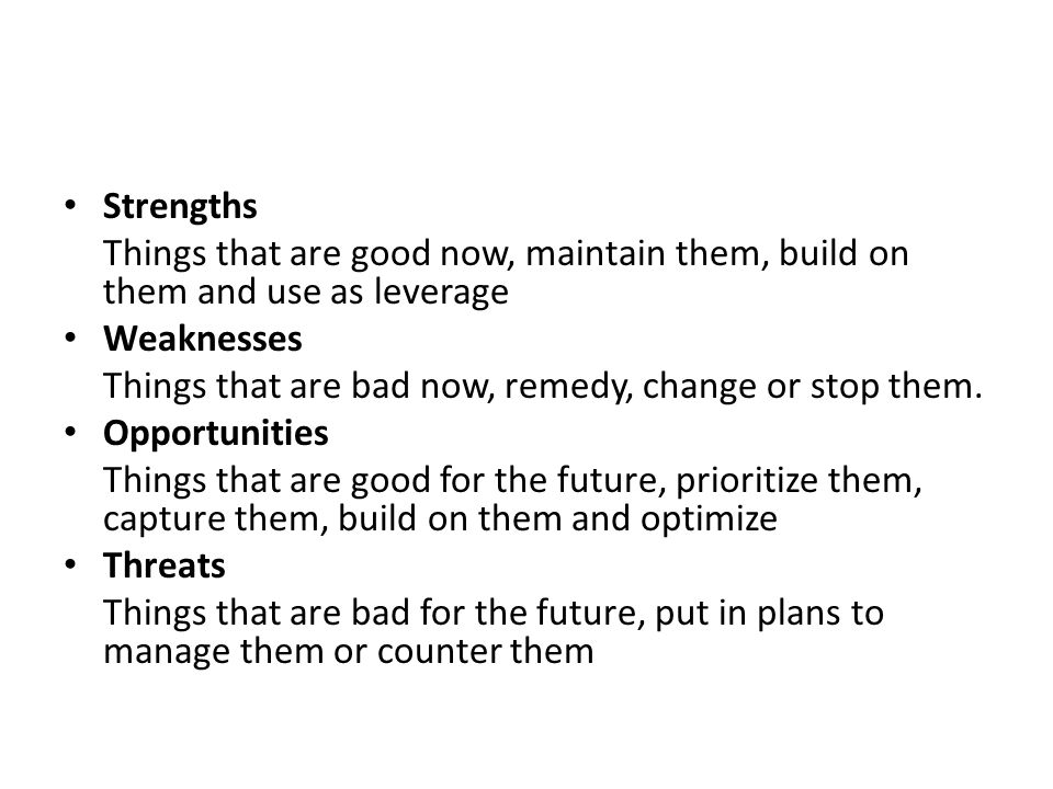 S-O strategies pursue opportunities that are a good fit to the company s strengths.