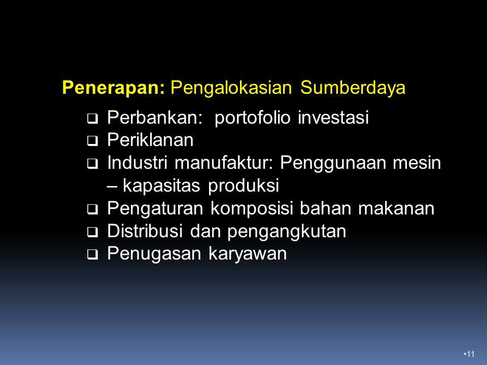 11 Penerapan: Pengalokasian Sumberdaya  Perbankan: portofolio investasi  Periklanan  Industri manufaktur: Penggunaan mesin – kapasitas produksi  Pengaturan komposisi bahan makanan  Distribusi dan pengangkutan  Penugasan karyawan