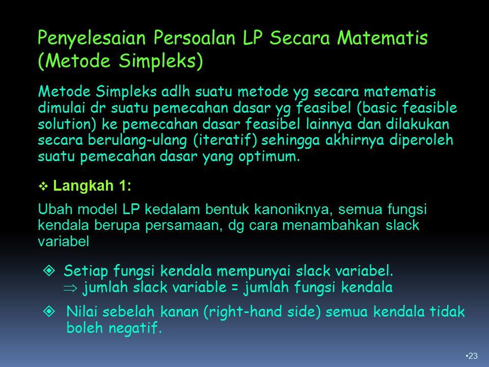 23 Penyelesaian Persoalan LP Secara Matematis (Metode Simpleks) Metode Simpleks adlh suatu metode yg secara matematis dimulai dr suatu pemecahan dasar yg feasibel (basic feasible solution) ke pemecahan dasar feasibel lainnya dan dilakukan secara berulang-ulang (iteratif) sehingga akhirnya diperoleh suatu pemecahan dasar yang optimum.