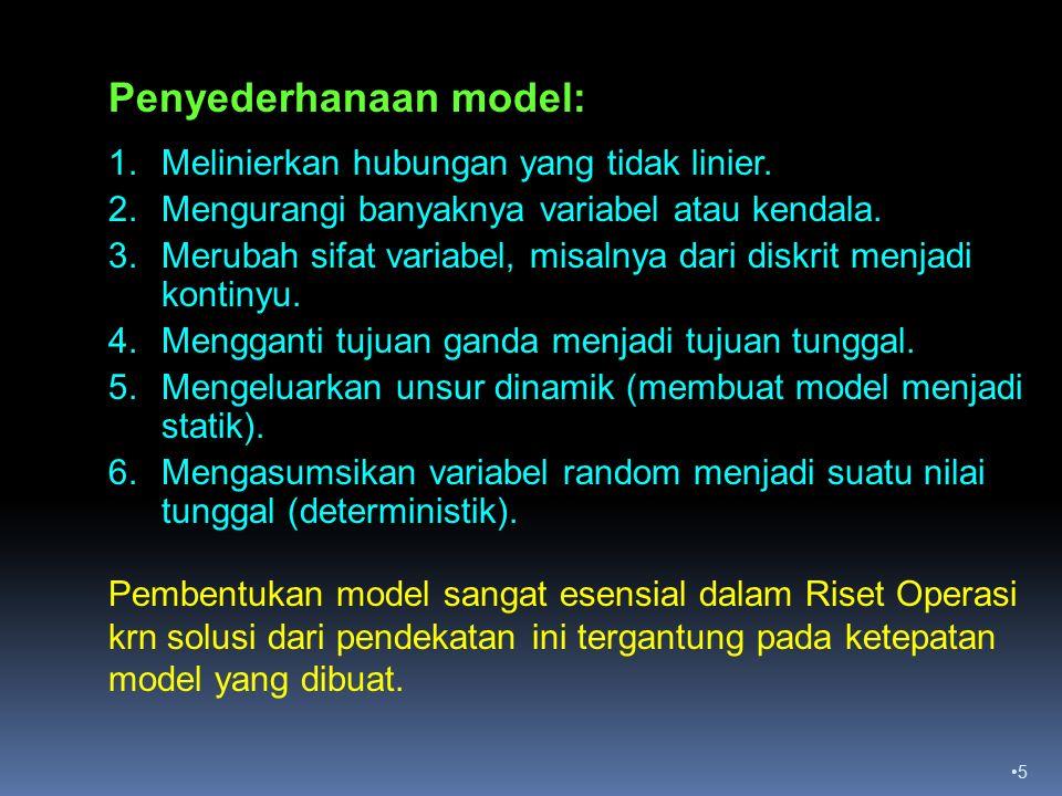 5 Penyederhanaan model: 1.Melinierkan hubungan yang tidak linier.
