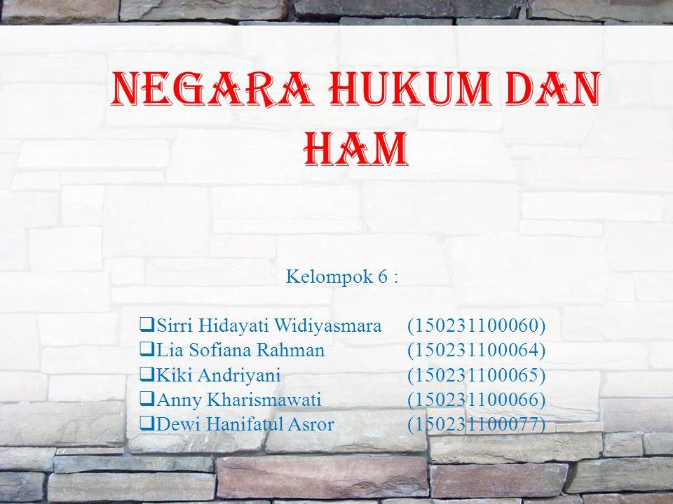 Negara hukum dan ham Kelompok 6 :  Sirri Hidayati Widiyasmara(150231100060)  Lia Sofiana Rahman(150231100064)  Kiki Andriyani(150231100065)  Anny Kharismawati(150231100066)  Dewi Hanifatul Asror(150231100077)