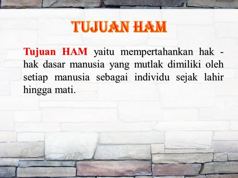 Tujuan HAM yaitu mempertahankan hak - hak dasar manusia yang mutlak dimiliki oleh setiap manusia sebagai individu sejak lahir hingga mati.