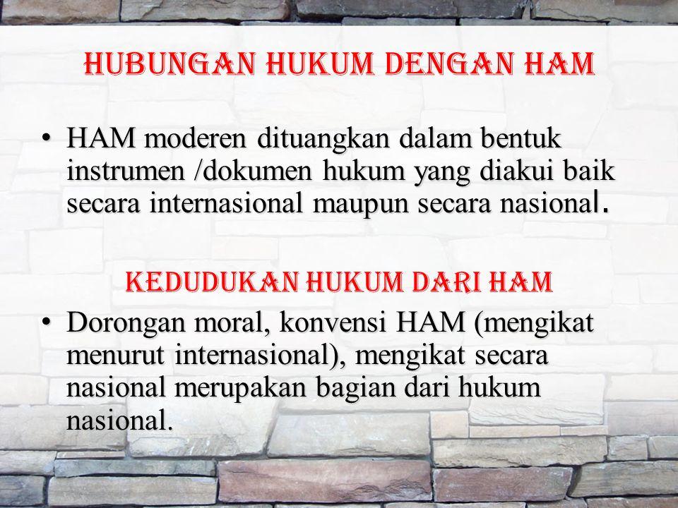 HUBUNGAN HUKUM DENGAN HAM HAM moderen dituangkan dalam bentuk instrumen /dokumen hukum yang diakui baik secara internasional maupun secara nasiona l.