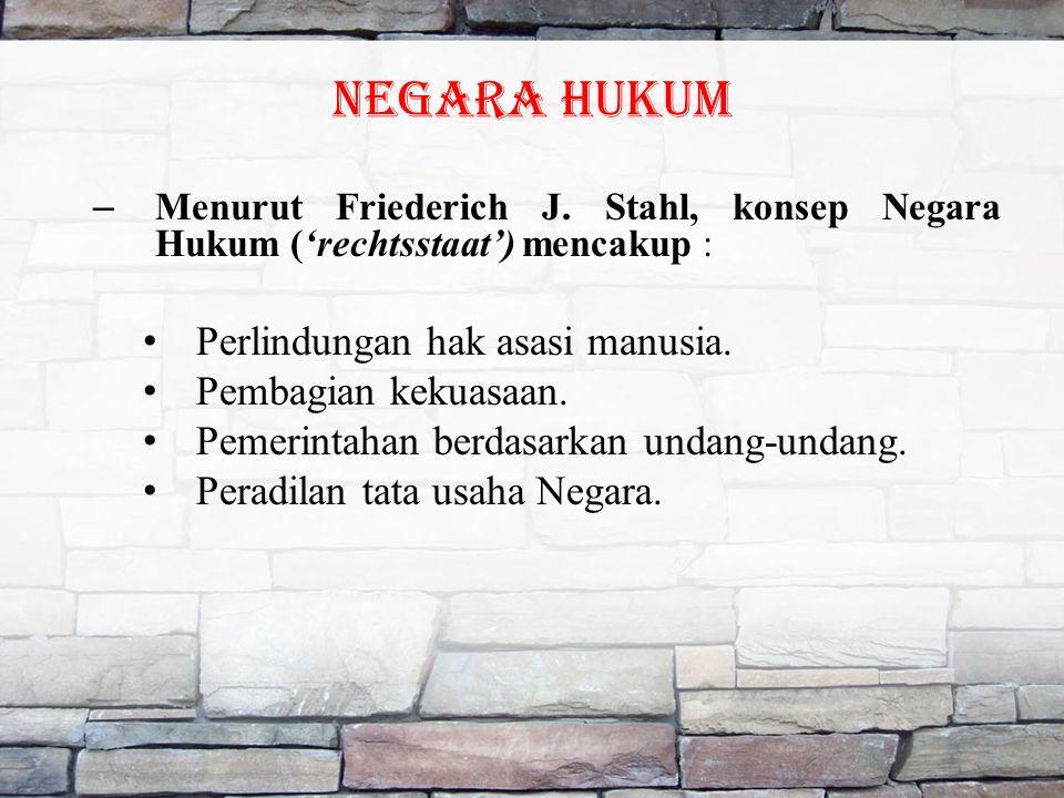 NEGARA HUKUM – Menurut Friederich J.