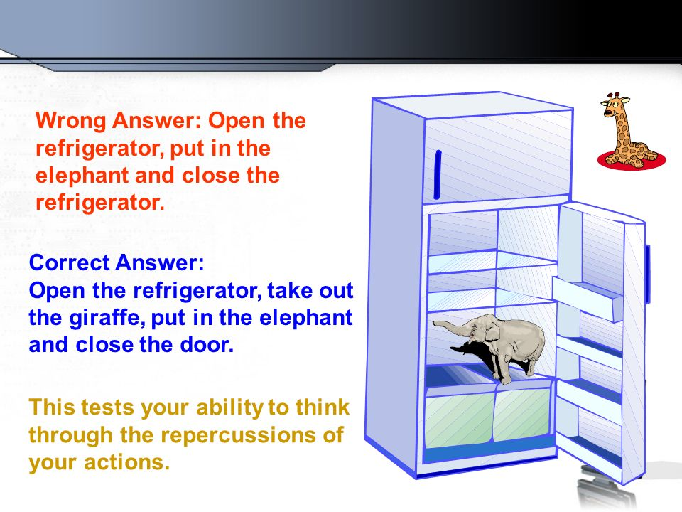 Question Number 2 How do you put an elephant into a refrigerator?