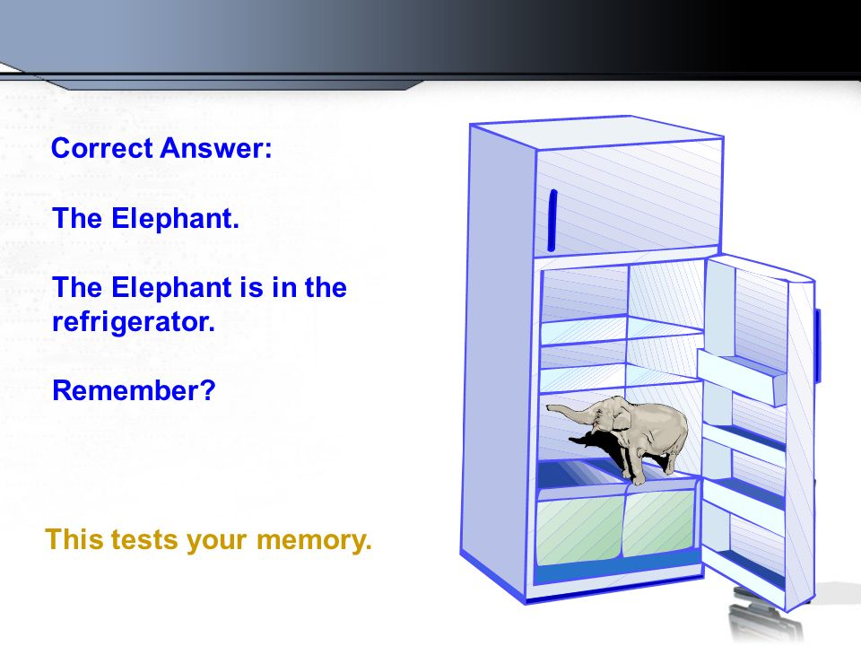 Correct Answer: The Elephant.The Elephant is in the refrigerator.