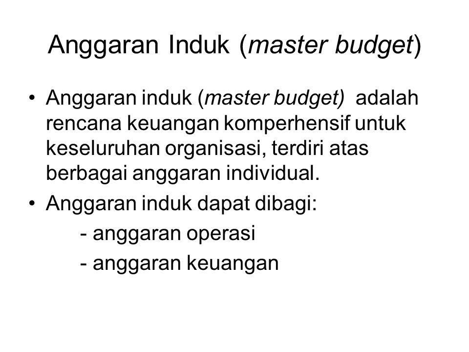 Anggaran Induk (master budget) Anggaran induk (master budget) adalah rencana keuangan komperhensif untuk keseluruhan organisasi, terdiri atas berbagai anggaran individual.