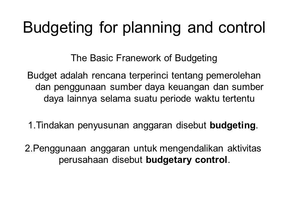 Budgeting for planning and control The Basic Franework of Budgeting Budget adalah rencana terperinci tentang pemerolehan dan penggunaan sumber daya keuangan dan sumber daya lainnya selama suatu periode waktu tertentu 1.Tindakan penyusunan anggaran disebut budgeting.