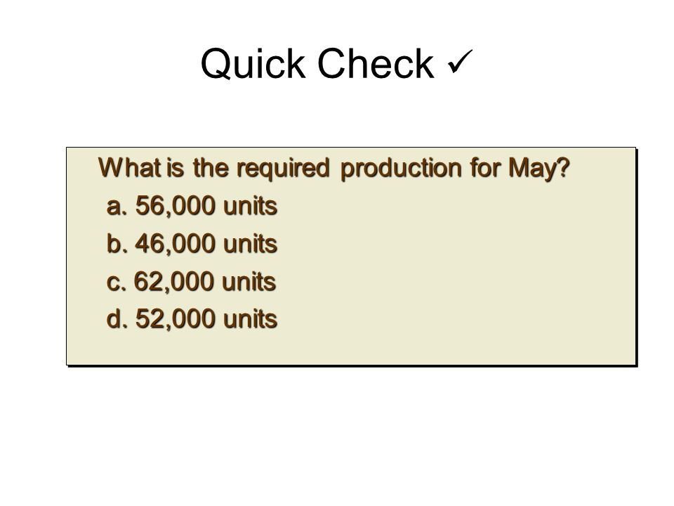 Quick Check What is the required production for May.