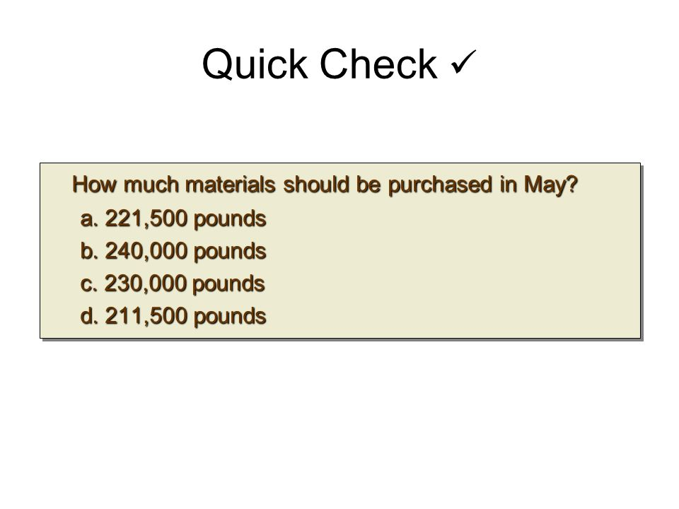 Quick Check How much materials should be purchased in May? How much materials should be purchased in May? a. 221,500 pounds b. 240,000 pounds c. 230,0