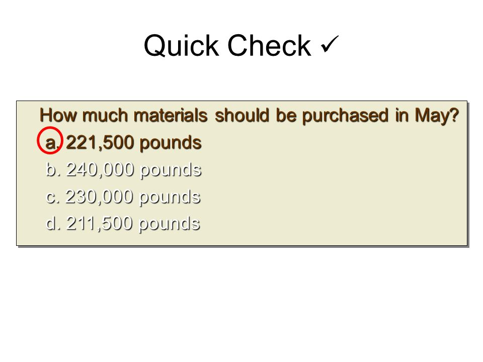 How much materials should be purchased in May? How much materials should be purchased in May? a. 221,500 pounds b. 240,000 pounds c. 230,000 pounds d.