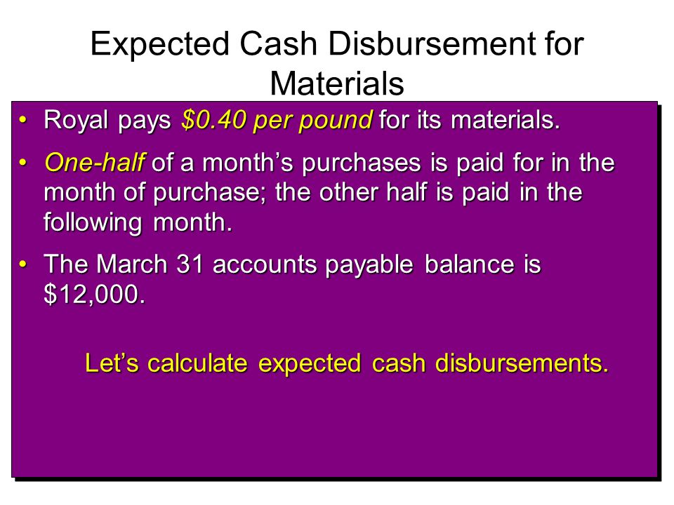 Expected Cash Disbursement for Materials Royal pays $0.40 per pound for its materials.Royal pays $0.40 per pound for its materials. One-half of a mont