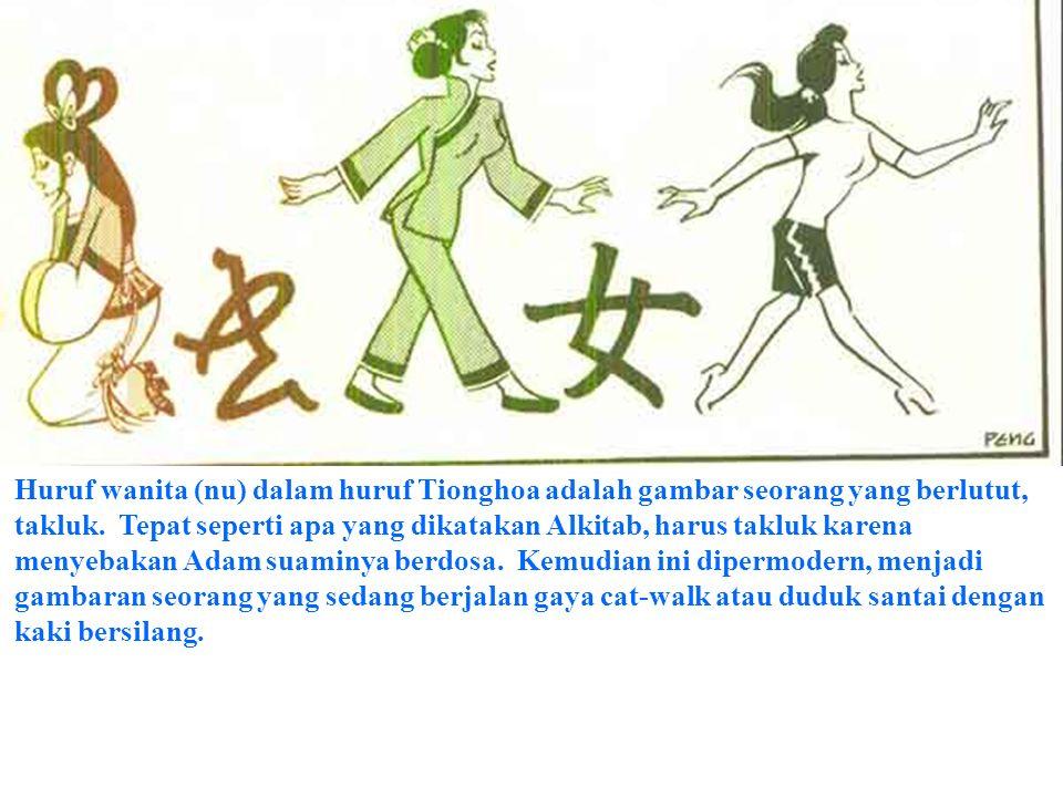 Huruf wanita (nu) dalam huruf Tionghoa adalah gambar seorang yang berlutut, takluk.