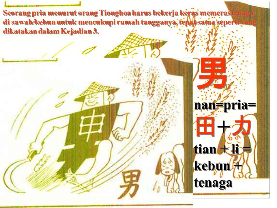 Seorang pria menurut orang Tionghoa harus bekerja keras memeras tenaga di sawah/kebun untuk mencukupi rumah tangganya, tepat sama seperti yang dikatakan dalam Kejadian 3.