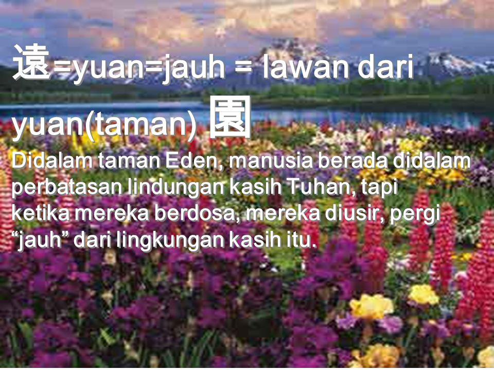 遠 =yuan=jauh = lawan dari yuan(taman) 園 Didalam taman Eden, manusia berada didalam perbatasan lindungan kasih Tuhan, tapi ketika mereka berdosa, mereka diusir, pergi jauh dari lingkungan kasih itu.