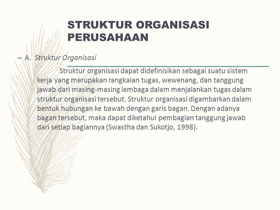 STRUKTUR ORGANISASI PERUSAHAAN – A. Struktur Organisasi Struktur organisasi dapat didefinisikan sebagai suatu sistem kerja yang merupakan rangkaian tu