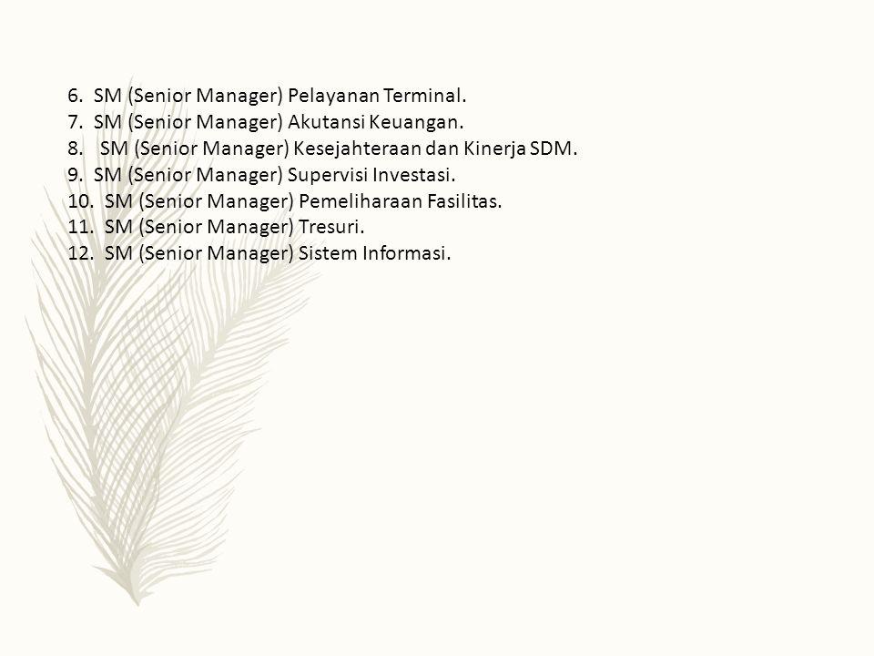 6. SM (Senior Manager) Pelayanan Terminal. 7. SM (Senior Manager) Akutansi Keuangan. 8.SM (Senior Manager) Kesejahteraan dan Kinerja SDM. 9. SM (Senio