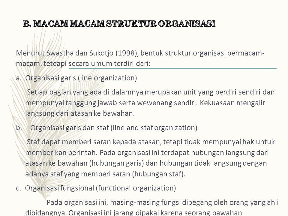 Menurut Swastha dan Sukotjo (1998), bentuk struktur organisasi bermacam- macam, teteapi secara umum terdiri dari: a.