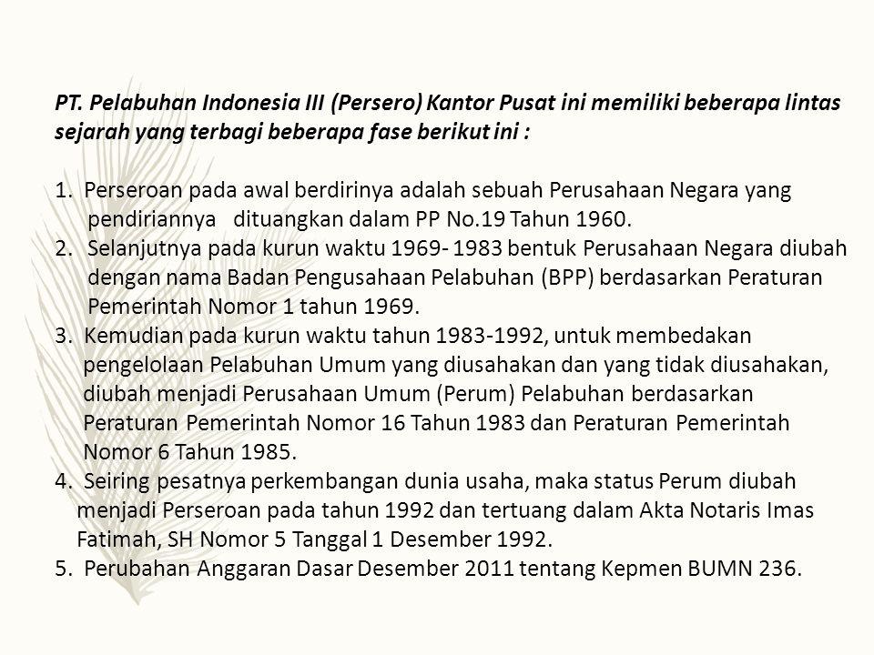 PT. Pelabuhan Indonesia III (Persero) Kantor Pusat ini memiliki beberapa lintas sejarah yang terbagi beberapa fase berikut ini : 1. Perseroan pada awa
