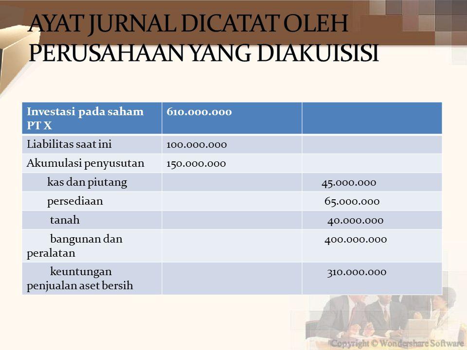 Investasi pada saham PT X 610.000.000 Liabilitas saat ini100.000.000 Akumulasi penyusutan150.000.000 kas dan piutang 45.000.000 persediaan 65.000.000 tanah 40.000.000 bangunan dan peralatan 400.000.000 keuntungan penjualan aset bersih 310.000.000