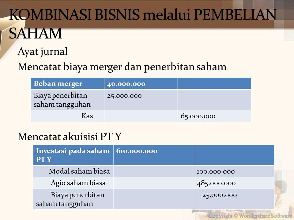 Ayat jurnal Mencatat biaya merger dan penerbitan saham Mencatat akuisisi PT Y Beban merger40.000.000 Biaya penerbitan saham tangguhan 25.000.000 Kas65