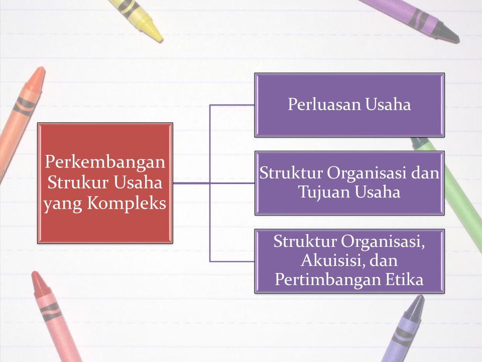 Perkembangan Strukur Usaha yang Kompleks Perluasan Usaha Struktur Organisasi dan Tujuan Usaha Struktur Organisasi, Akuisisi, dan Pertimbangan Etika