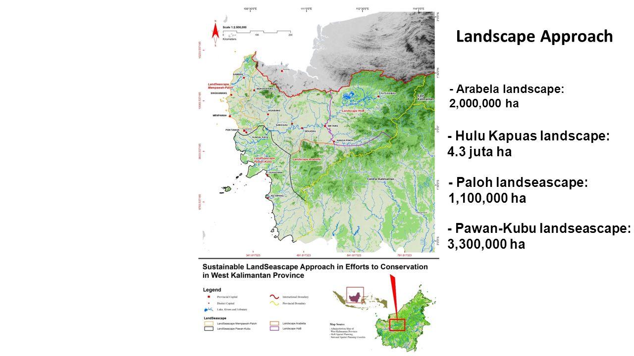 - Arabela landscape: 2,000,000 ha - Hulu Kapuas landscape: 4.3 juta ha - Paloh landseascape: 1,100,000 ha - Pawan-Kubu landseascape: 3,300,000 ha Land