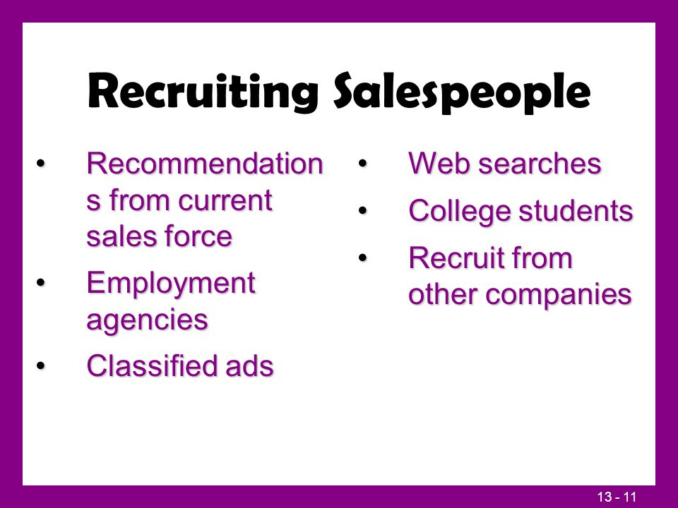 13 - 11 Recruiting Salespeople Recommendation s from current sales forceRecommendation s from current sales force Employment agenciesEmployment agencies Classified adsClassified ads Web searchesWeb searches College studentsCollege students Recruit from other companiesRecruit from other companies