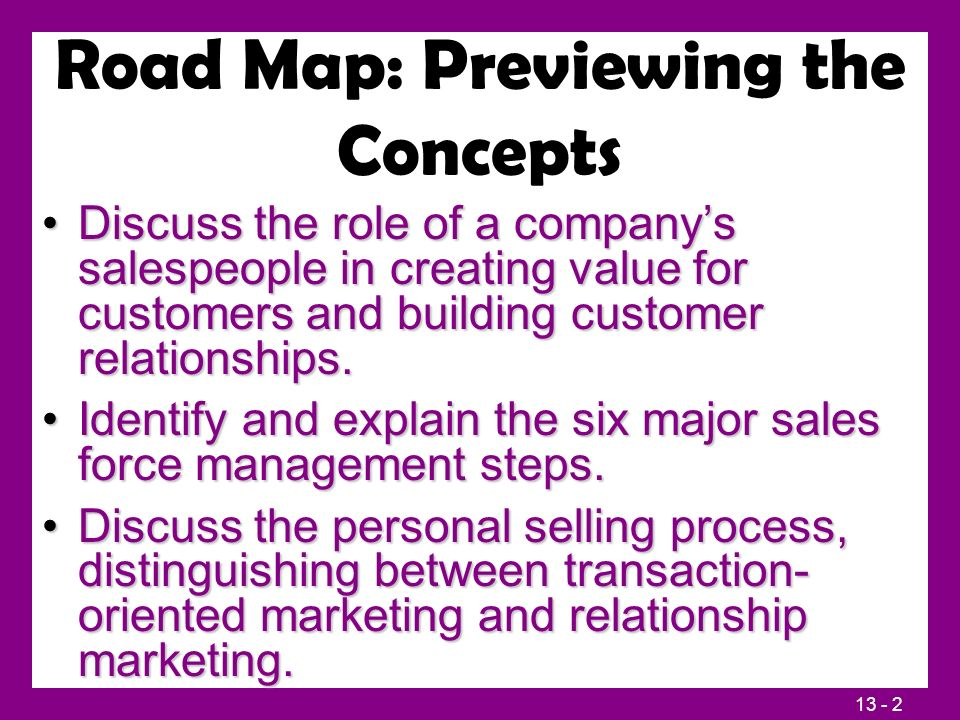 13 - 2 Road Map: Previewing the Concepts Discuss the role of a company's salespeople in creating value for customers and building customer relationships.Discuss the role of a company's salespeople in creating value for customers and building customer relationships.