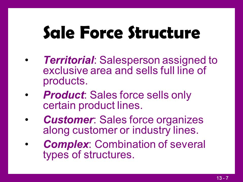 13 - 7 Sale Force Structure Territorial: Salesperson assigned to exclusive area and sells full line of products.
