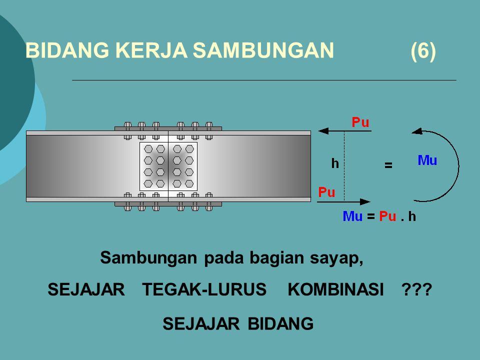 Sambungan pada bagian sayap, BIDANG KERJA SAMBUNGAN (6) SEJAJAR BIDANG SEJAJAR TEGAK-LURUS KOMBINASI ???