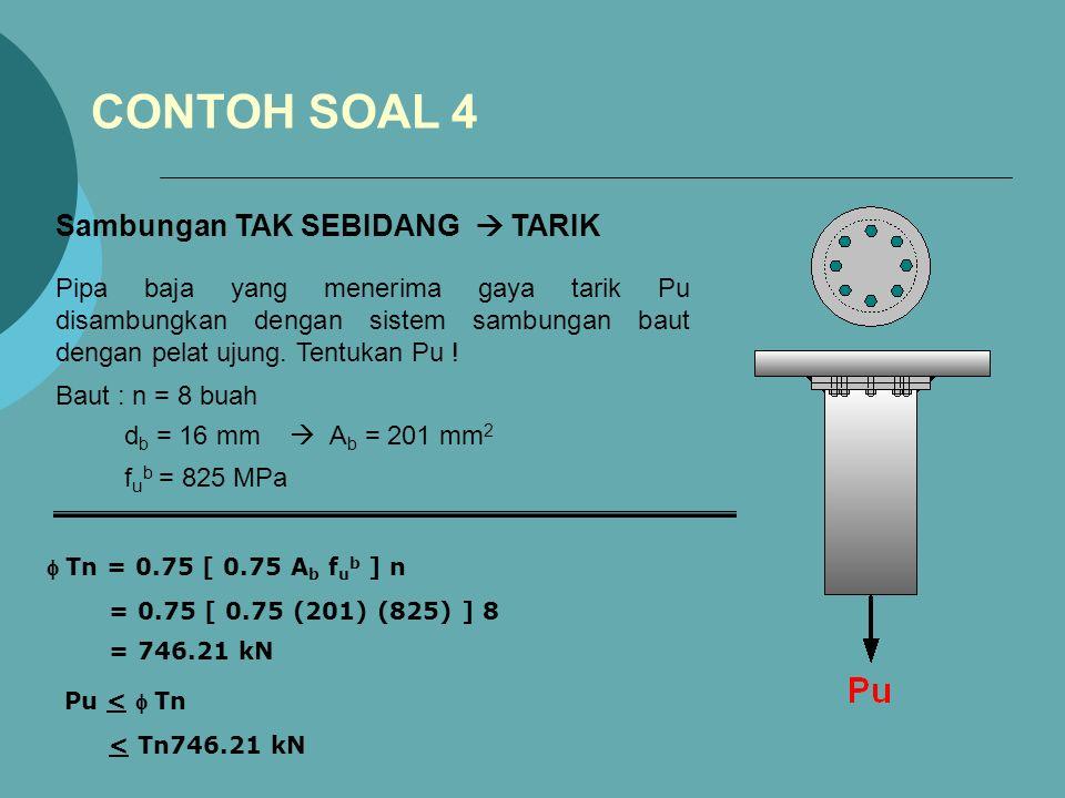 CONTOH SOAL 4 Pipa baja yang menerima gaya tarik Pu disambungkan dengan sistem sambungan baut dengan pelat ujung.