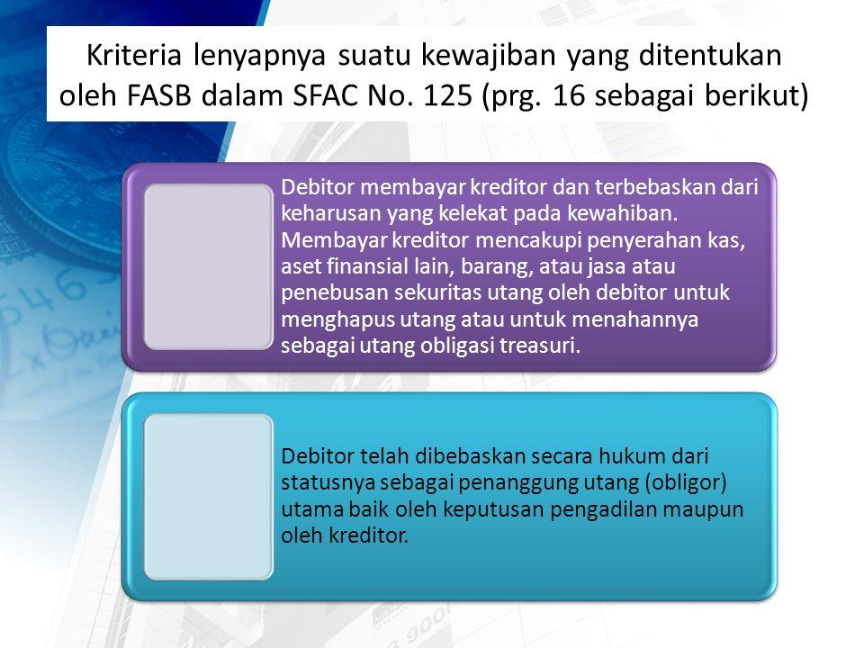 Kriteria lenyapnya suatu kewajiban yang ditentukan oleh FASB dalam SFAC No.