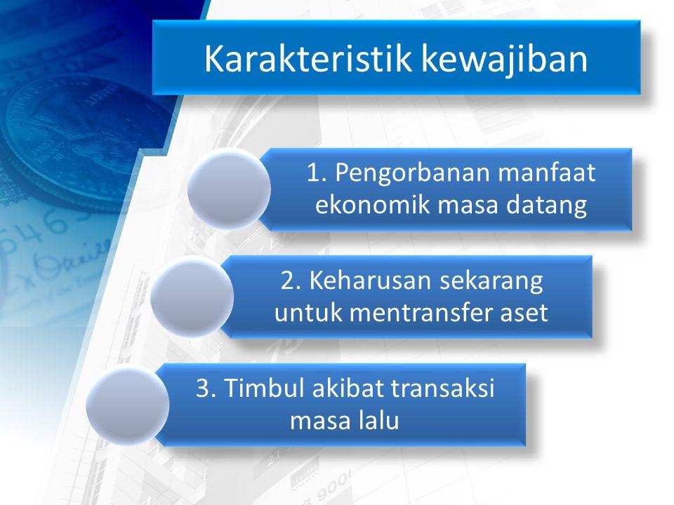 Karakteristik kewajiban 1. Pengorbanan manfaat ekonomik masa datang 2.