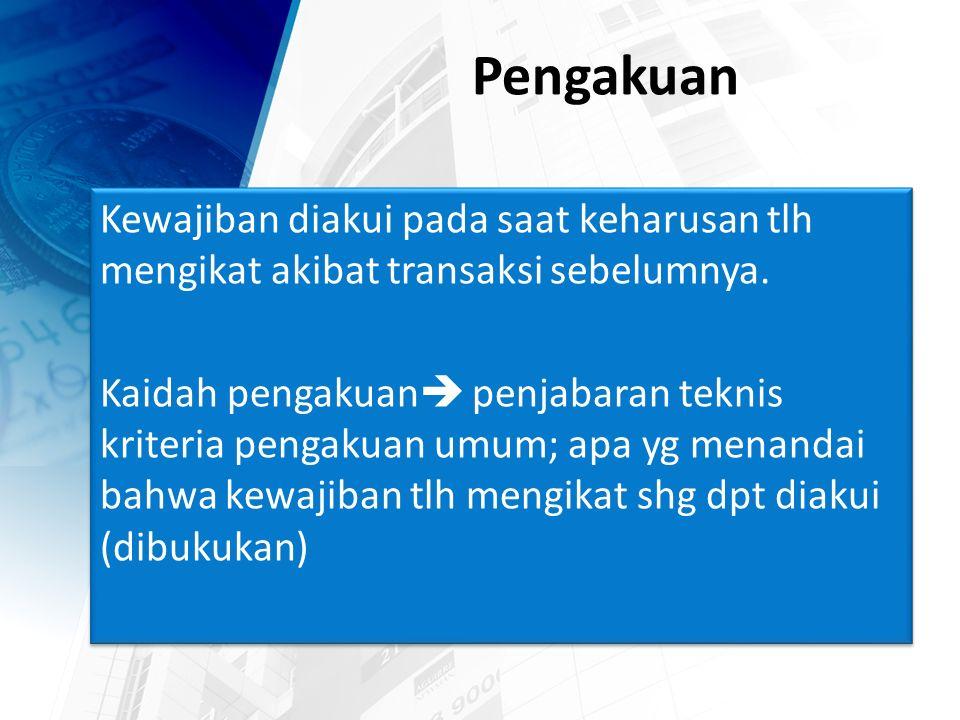 Penilaian Penilaian kewajiban pada saat tertentu adalah penentuan jumlah rupiah yang harus dikorbankan seandainya pada saat tersebut kewajiban harus dilunasi.