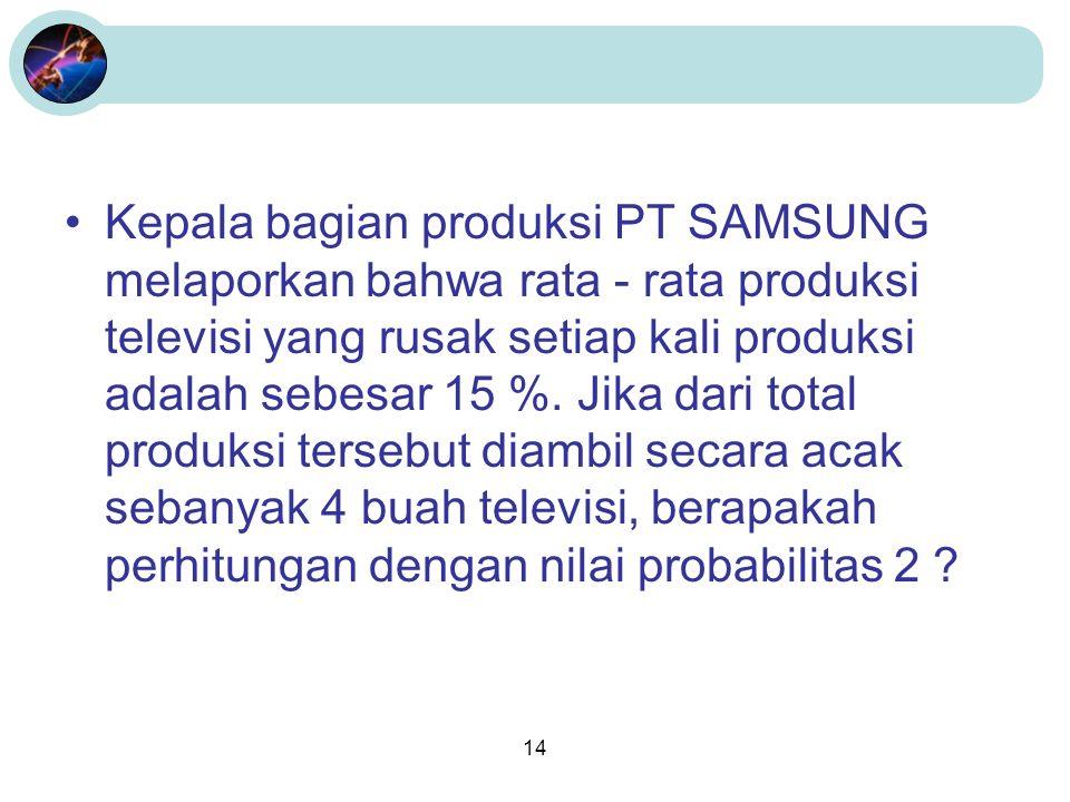 14 Kepala bagian produksi PT SAMSUNG melaporkan bahwa rata - rata produksi televisi yang rusak setiap kali produksi adalah sebesar 15 %.