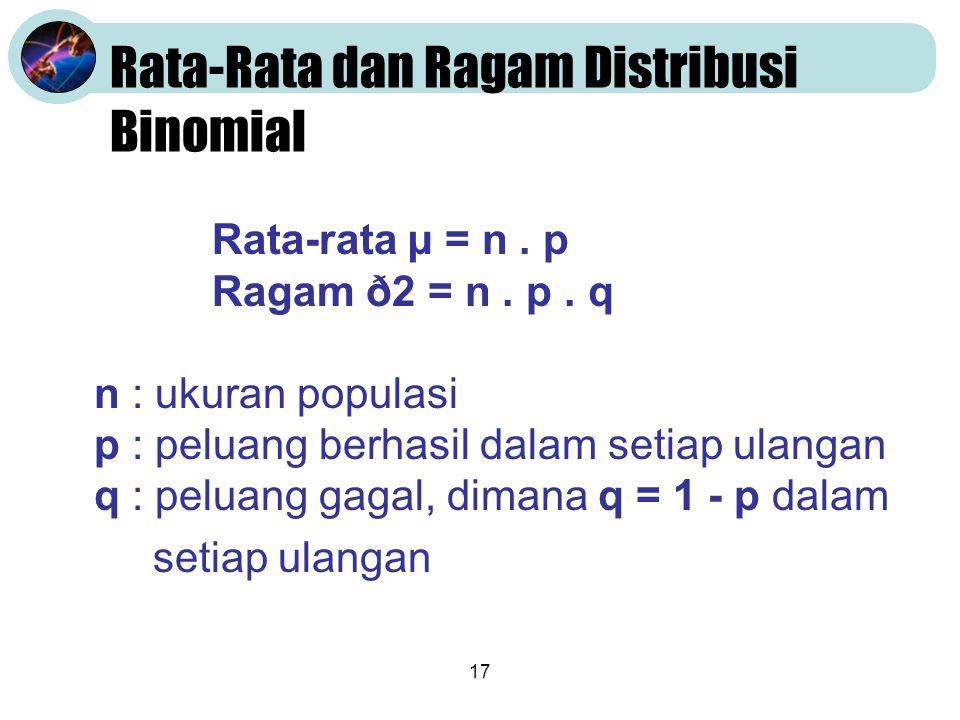 17 Rata-Rata dan Ragam Distribusi Binomial Rata-rata µ = n.
