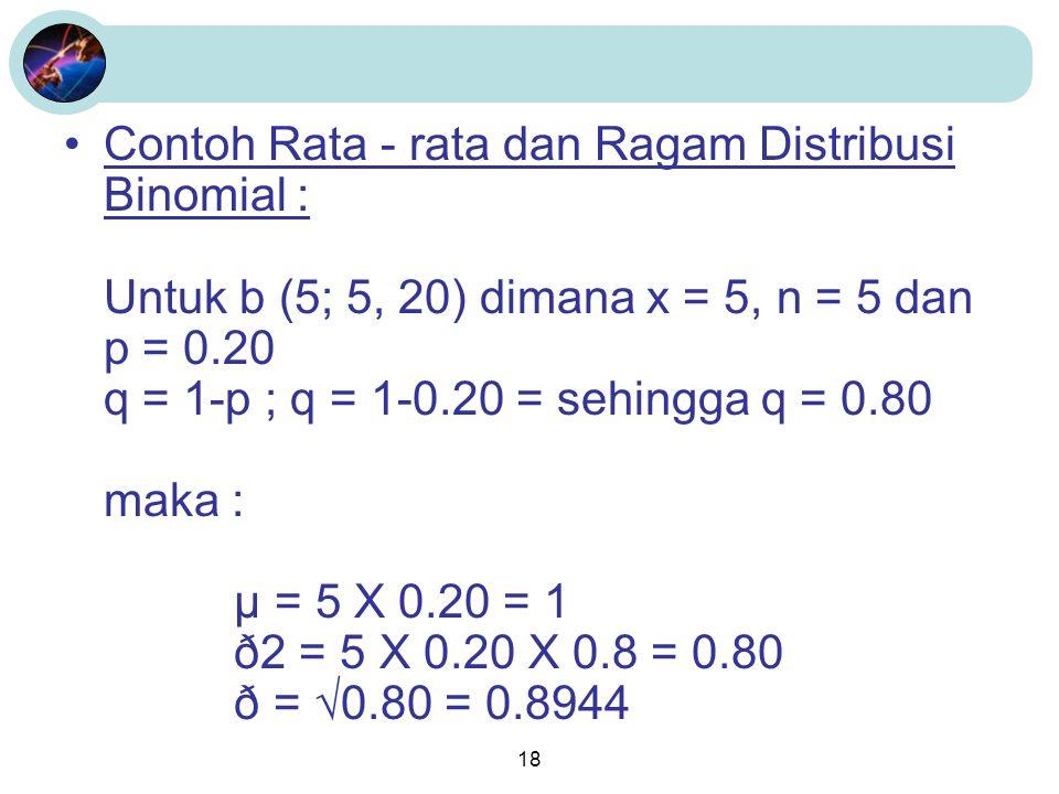 18 Contoh Rata - rata dan Ragam Distribusi Binomial : Untuk b (5; 5, 20) dimana x = 5, n = 5 dan p = 0.20 q = 1-p ; q = 1-0.20 = sehingga q = 0.80 maka : µ = 5 X 0.20 = 1 ð2 = 5 X 0.20 X 0.8 = 0.80 ð = √0.80 = 0.8944