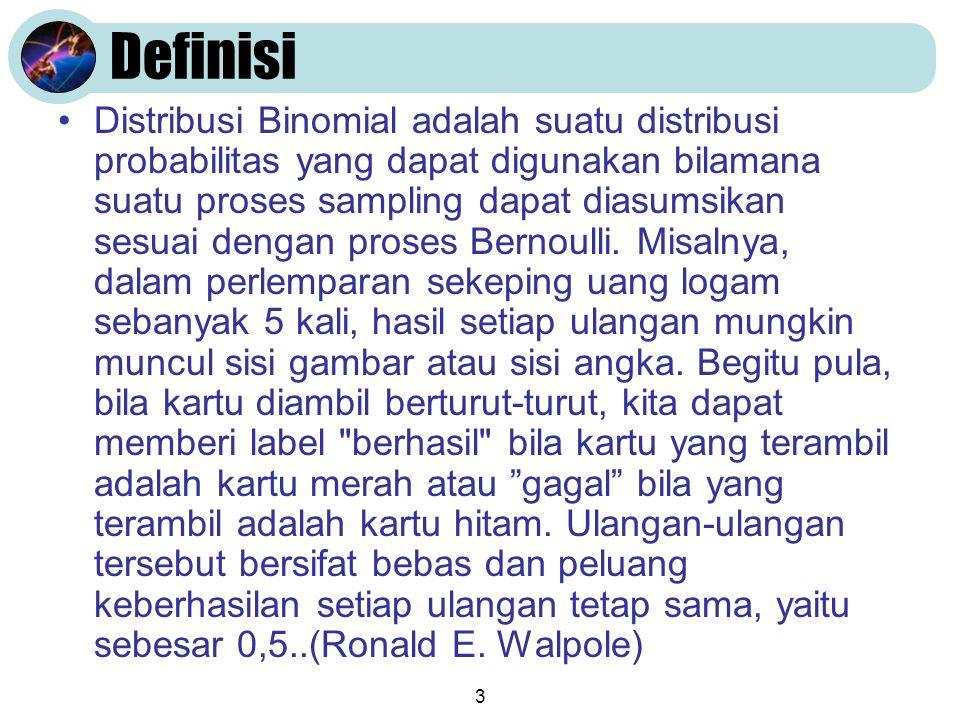 3 Definisi Distribusi Binomial adalah suatu distribusi probabilitas yang dapat digunakan bilamana suatu proses sampling dapat diasumsikan sesuai dengan proses Bernoulli.