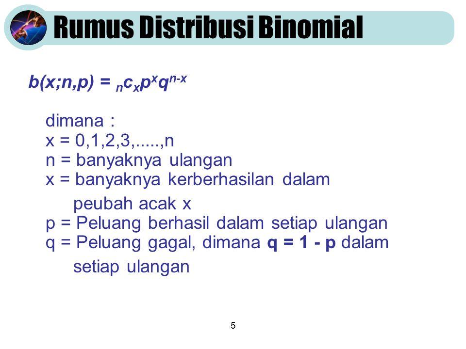 5 Rumus Distribusi Binomial b(x;n,p) = n c x p x q n-x dimana : x = 0,1,2,3,.....,n n = banyaknya ulangan x = banyaknya kerberhasilan dalam peubah acak x p = Peluang berhasil dalam setiap ulangan q = Peluang gagal, dimana q = 1 - p dalam setiap ulangan