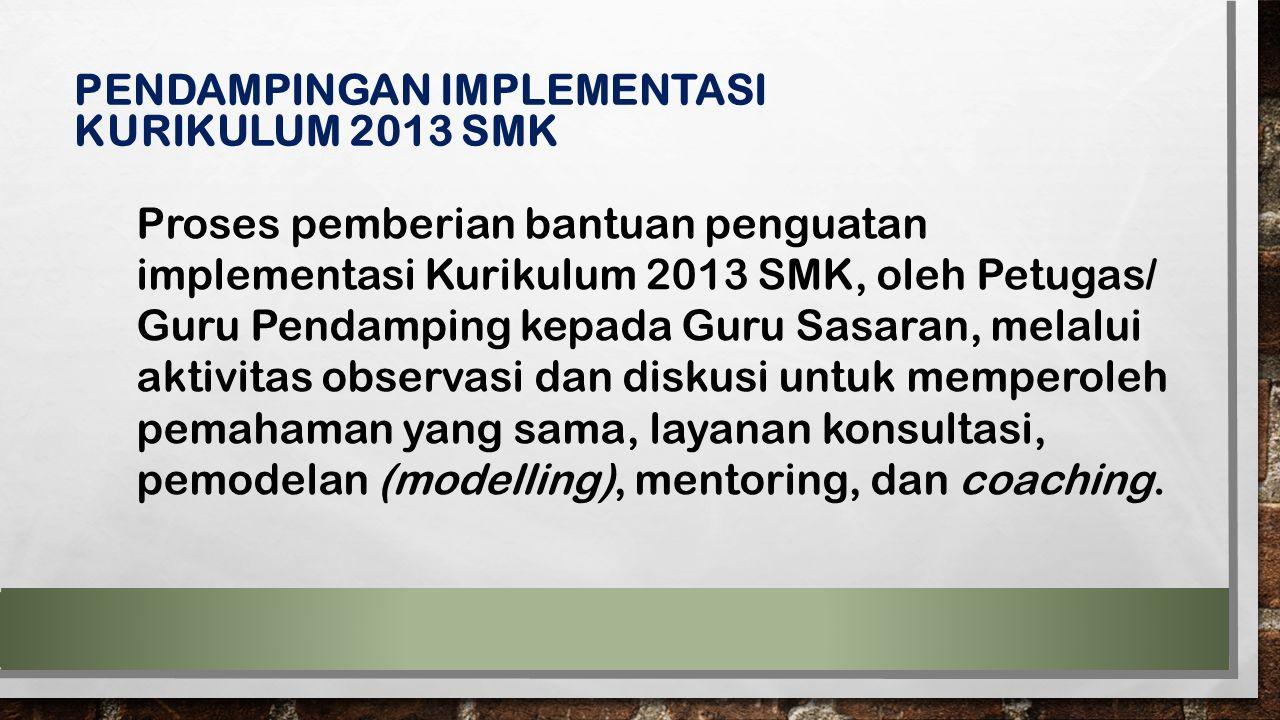 Proses pemberian bantuan penguatan implementasi Kurikulum 2013 SMK, oleh Petugas/ Guru Pendamping kepada Guru Sasaran, melalui aktivitas observasi dan