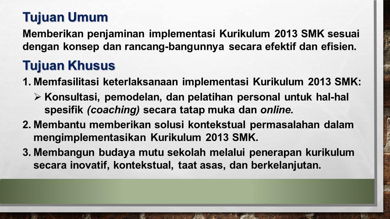 Tujuan Umum Memberikan penjaminan implementasi Kurikulum 2013 SMK sesuai dengan konsep dan rancang-bangunnya secara efektif dan efisien. Tujuan Khusus