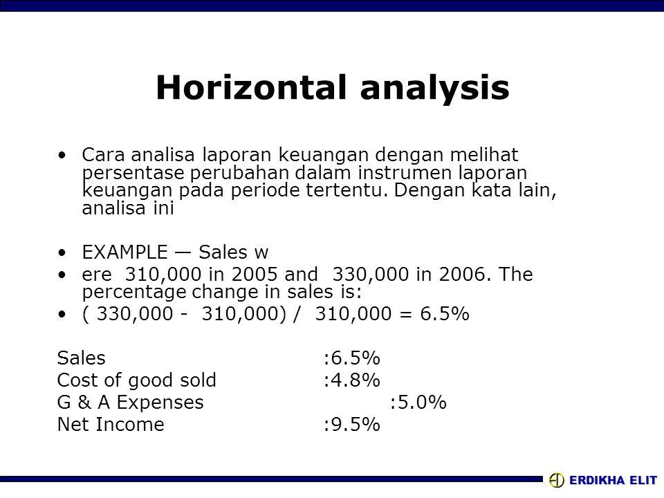 ERDIKHA ELIT Horizontal analysis Cara analisa laporan keuangan dengan melihat persentase perubahan dalam instrumen laporan keuangan pada periode terte