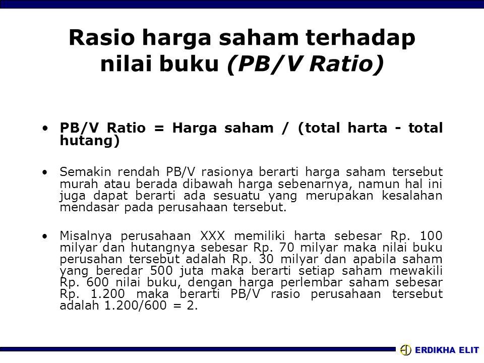ERDIKHA ELIT Rasio harga saham terhadap nilai buku (PB/V Ratio) PB/V Ratio = Harga saham / (total harta - total hutang) Semakin rendah PB/V rasionya b